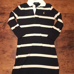 🍋Ralph Lauren Navy White stripe dress Sz xs